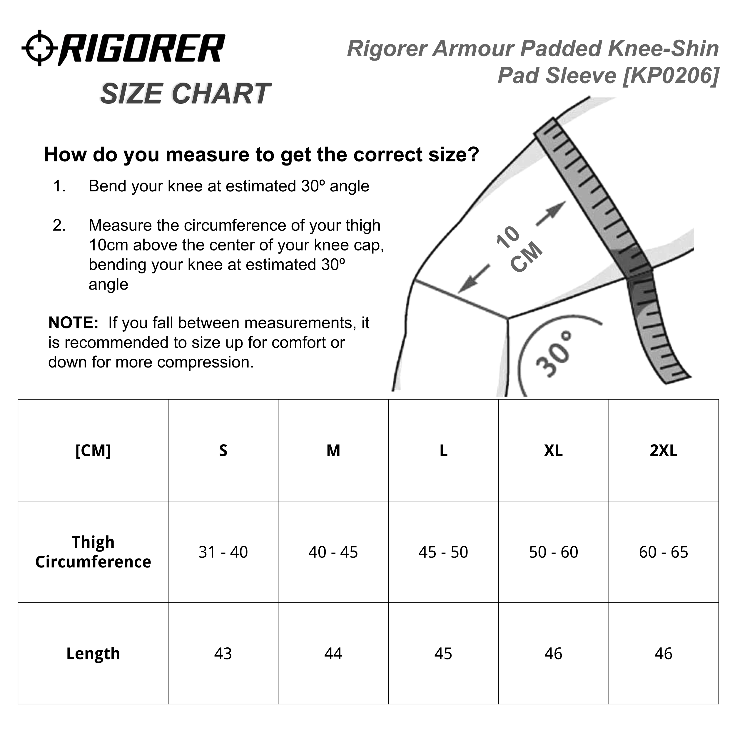 Rigorer Armour Padded Knee-Shin Pad Sleeve [KP0206] Sizing Chart