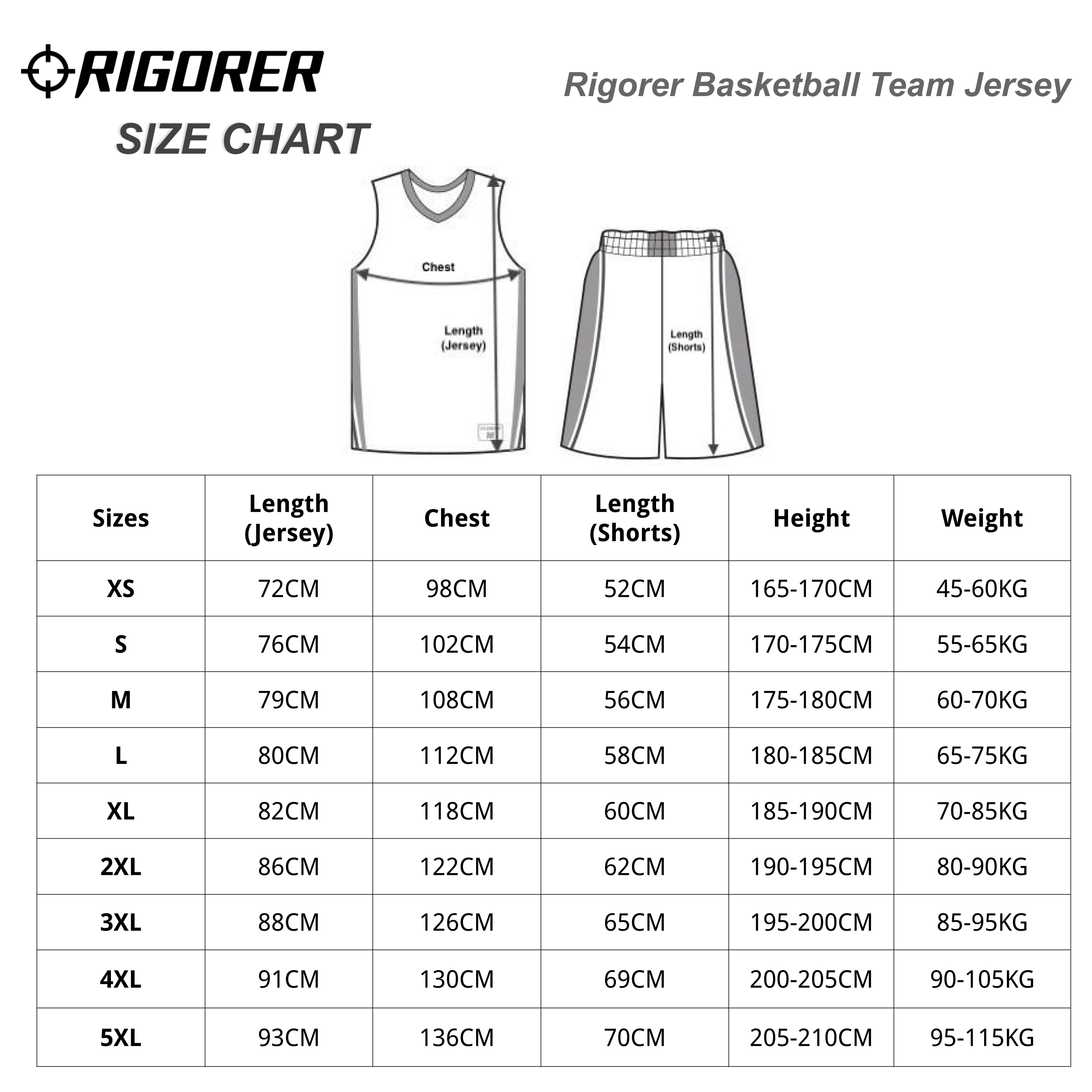 Rigorer Basketball Team Adult Jersey Sizing Chart