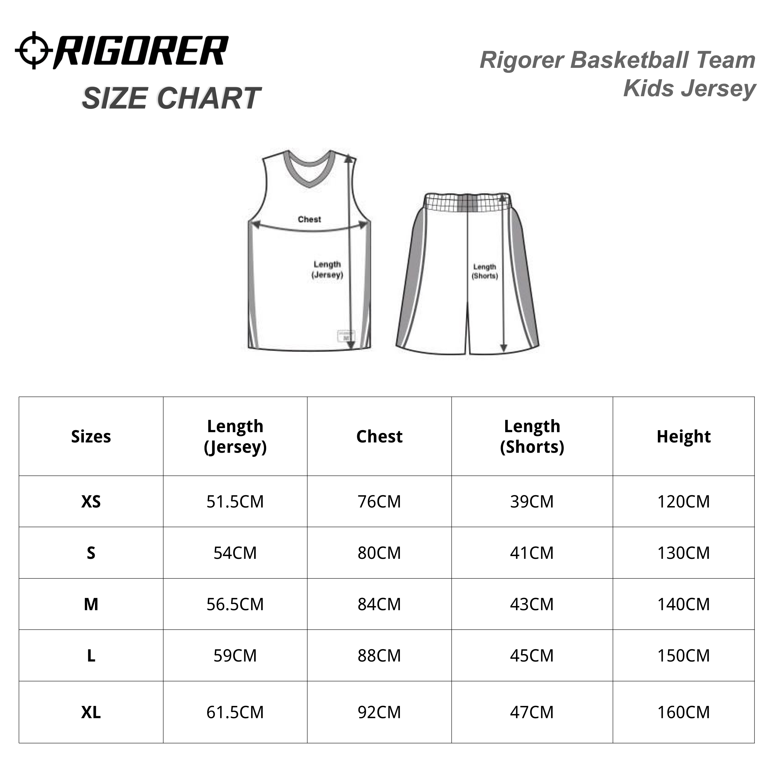 Rigorer Basketball Team Kids Jersey Sizing Chart