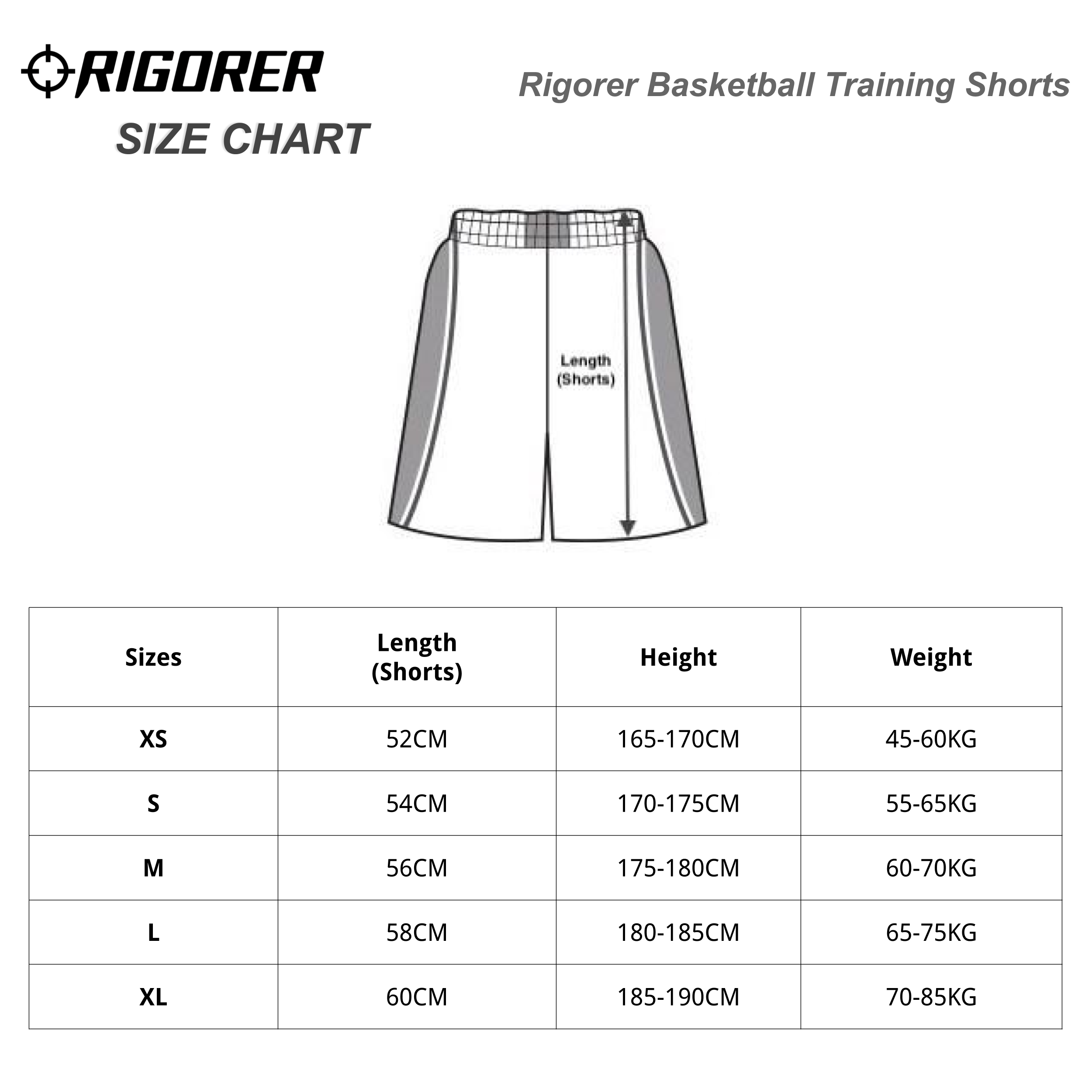 Rigorer Basketball Training Shorts Sizing Chart