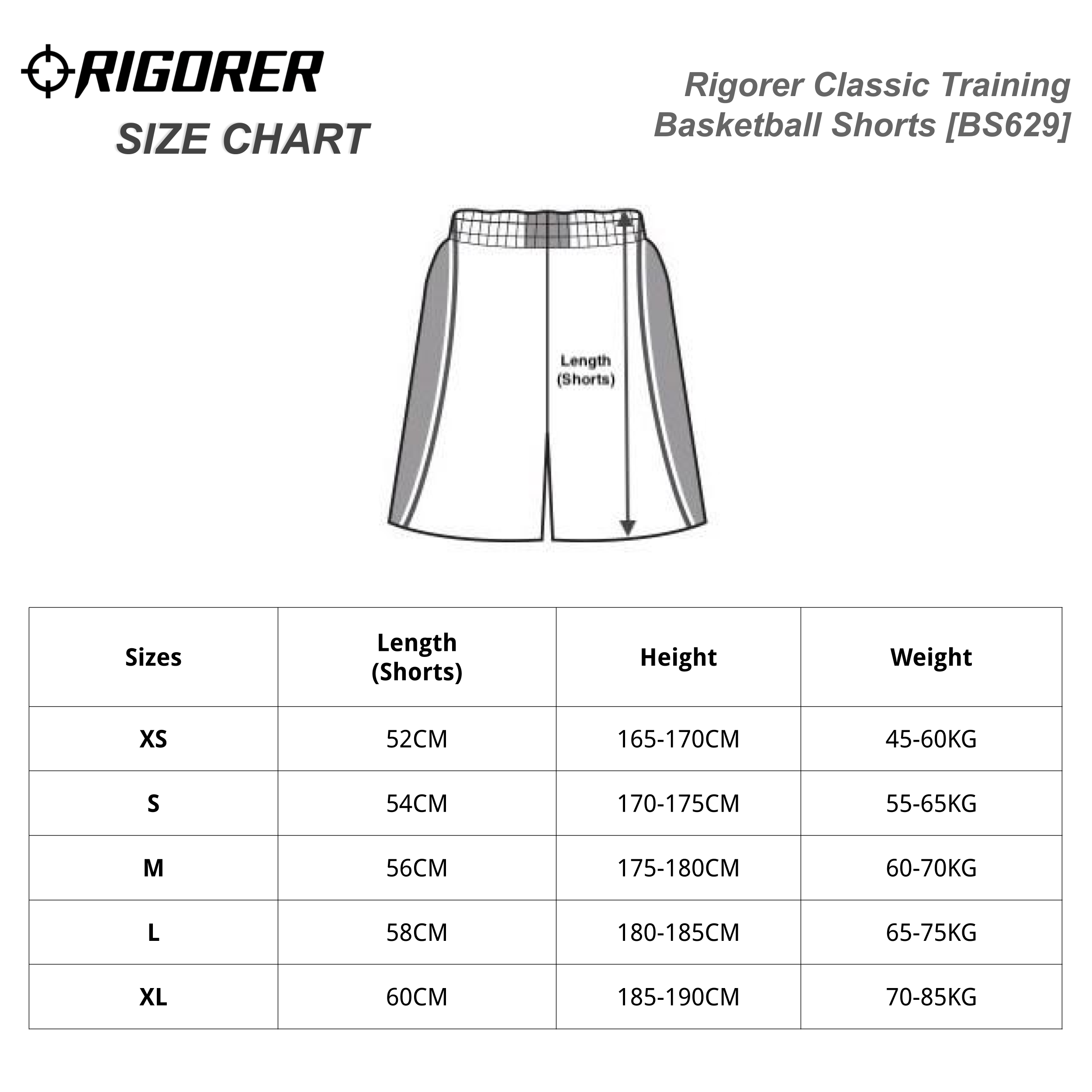 Rigorer Classic Training Basketball Shorts [BS629] Sizing Chart