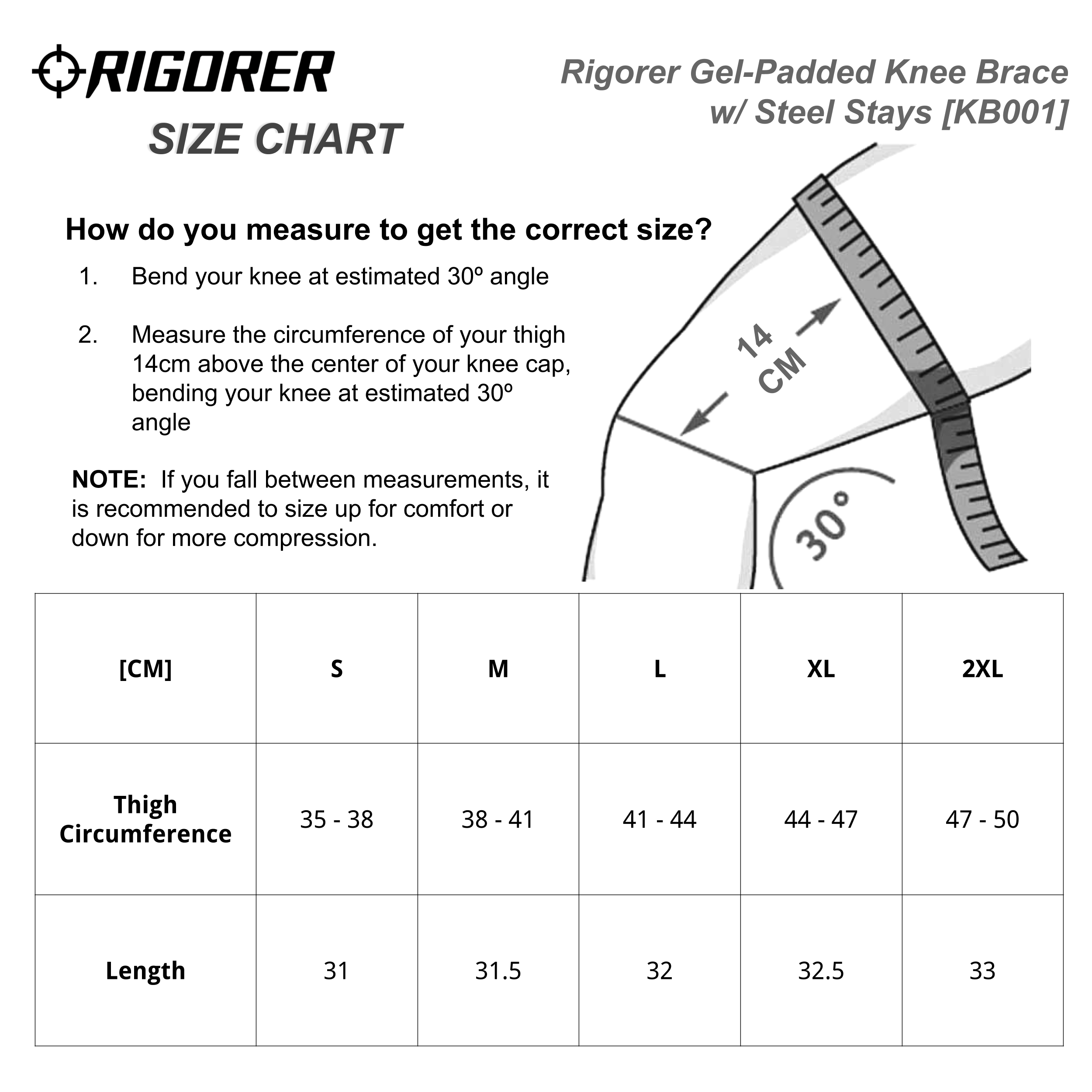 Rigorer Gel-Padded Knee Brace w/ Steel Stays [KB001] Sizing Chart