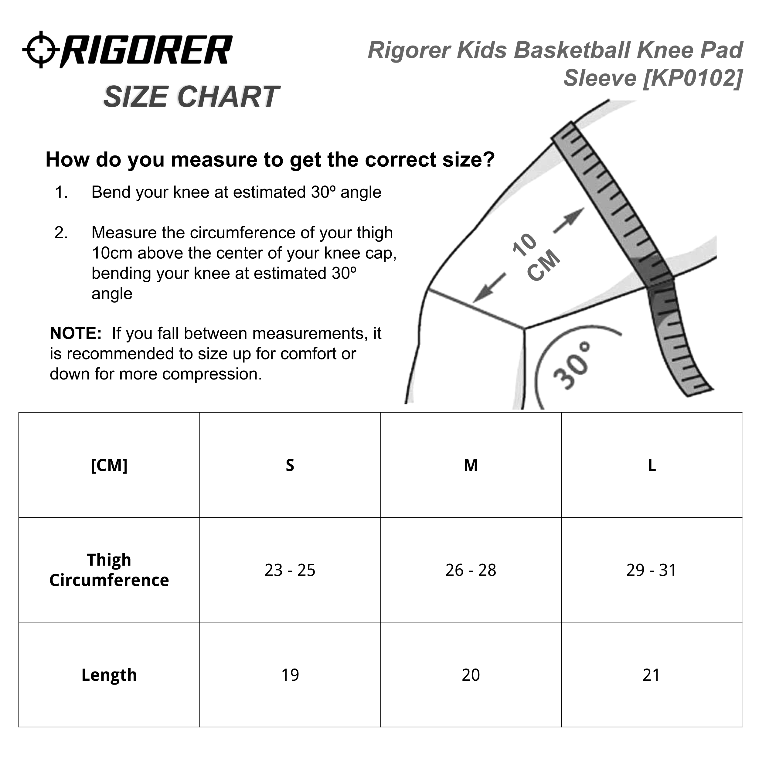 Rigorer Kids Basketball Knee Pad Sleeve [KP0102] Sizing Chart