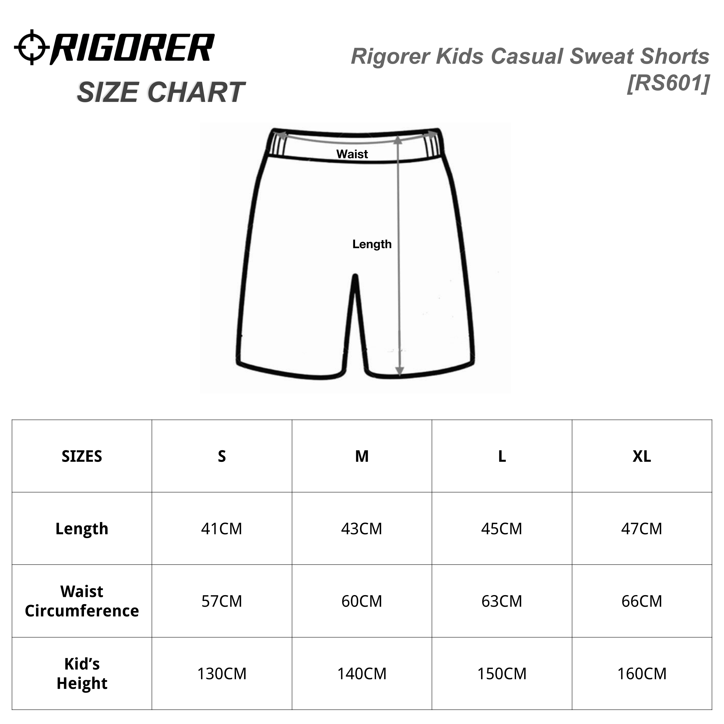 Rigorer Kids Casual Sweat Shorts [RS601] Sizing Chart