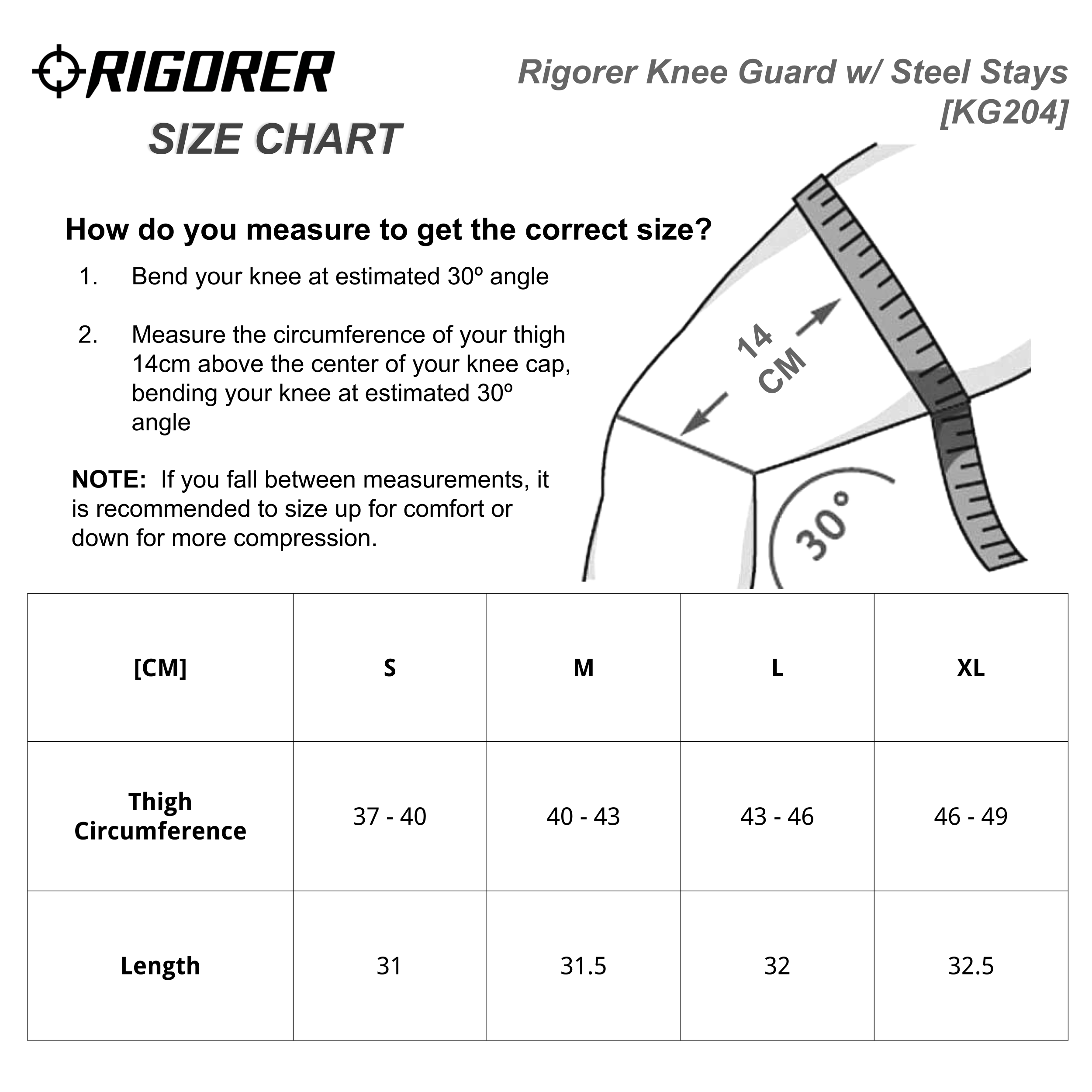 Rigorer Knee Guard w/ Steel Stays [KG204] Sizing Chart