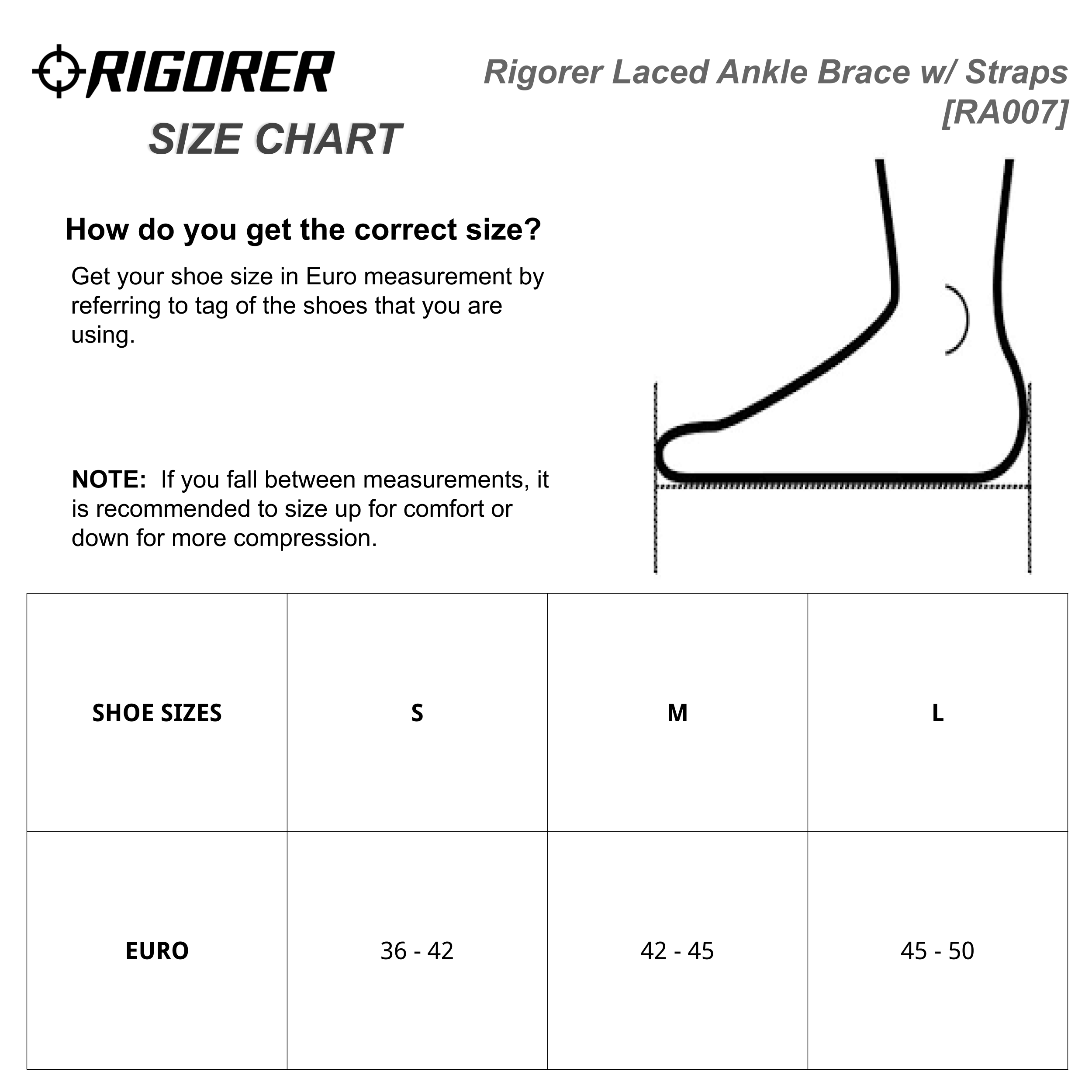 Rigorer Laced Ankle Brace w/ Straps [RA007] Sizing Chart