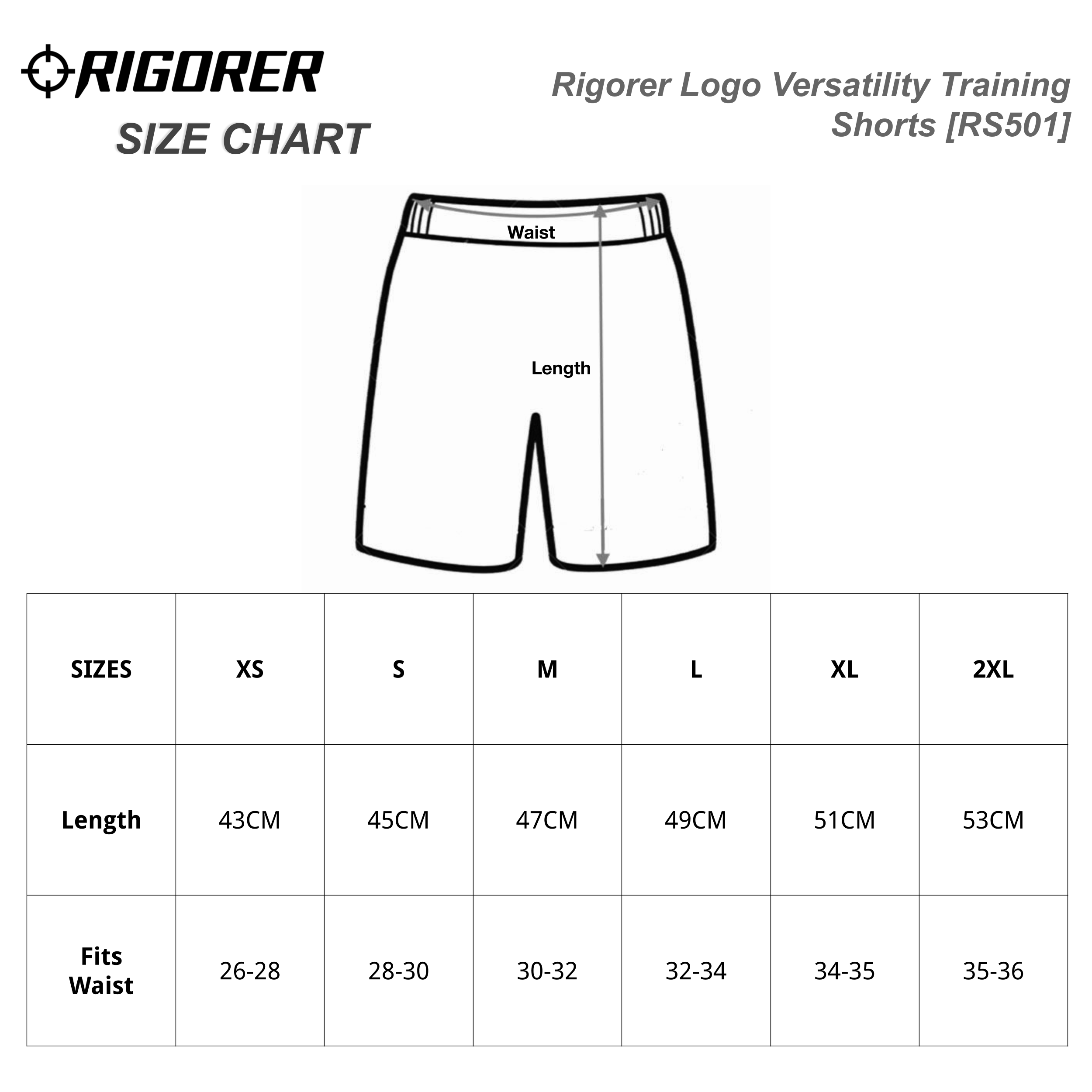 Rigorer Logo Versatility Training Shorts [RS501] Sizing Chart