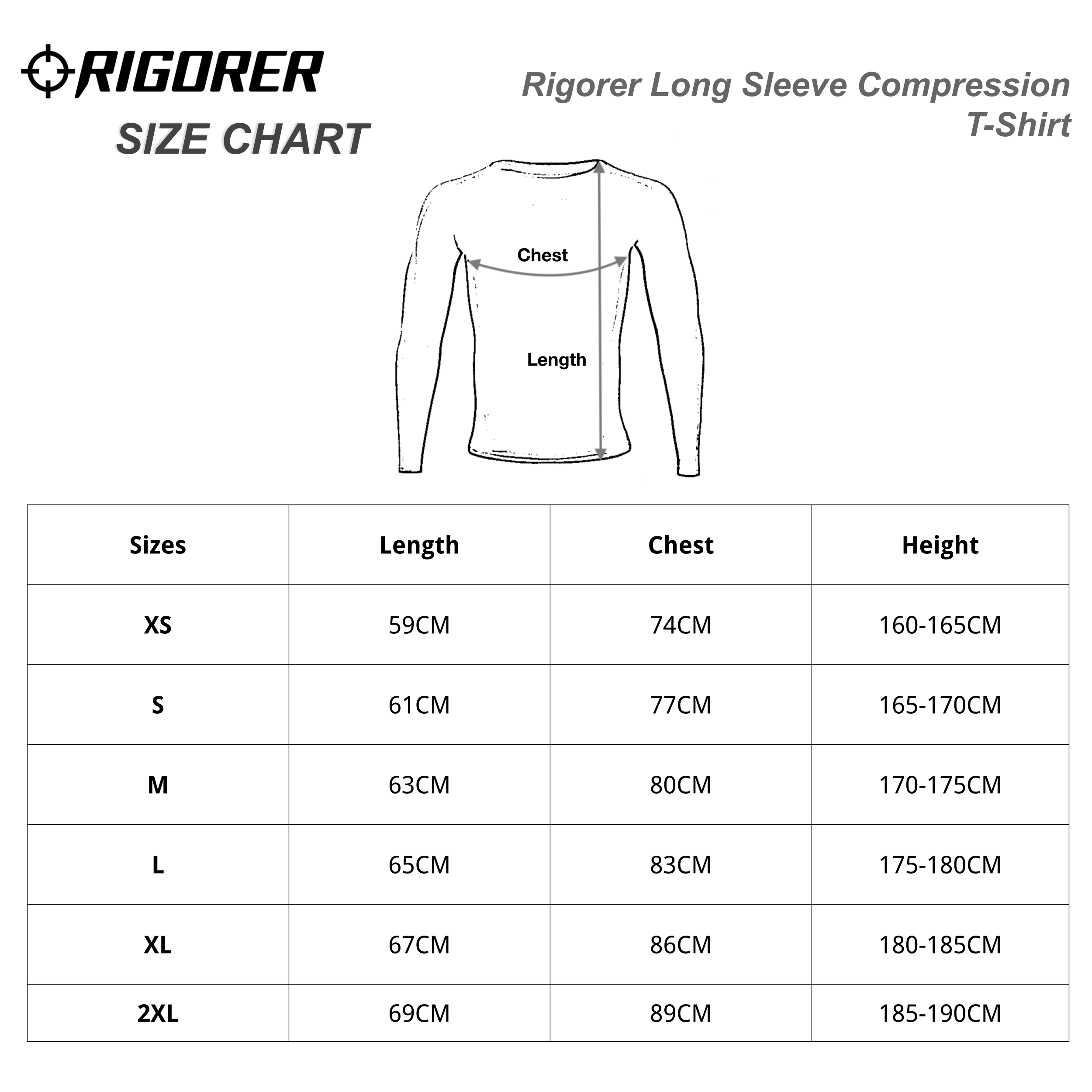 Rigorer Long Sleeve Compression T-Shirt Sizing Chart