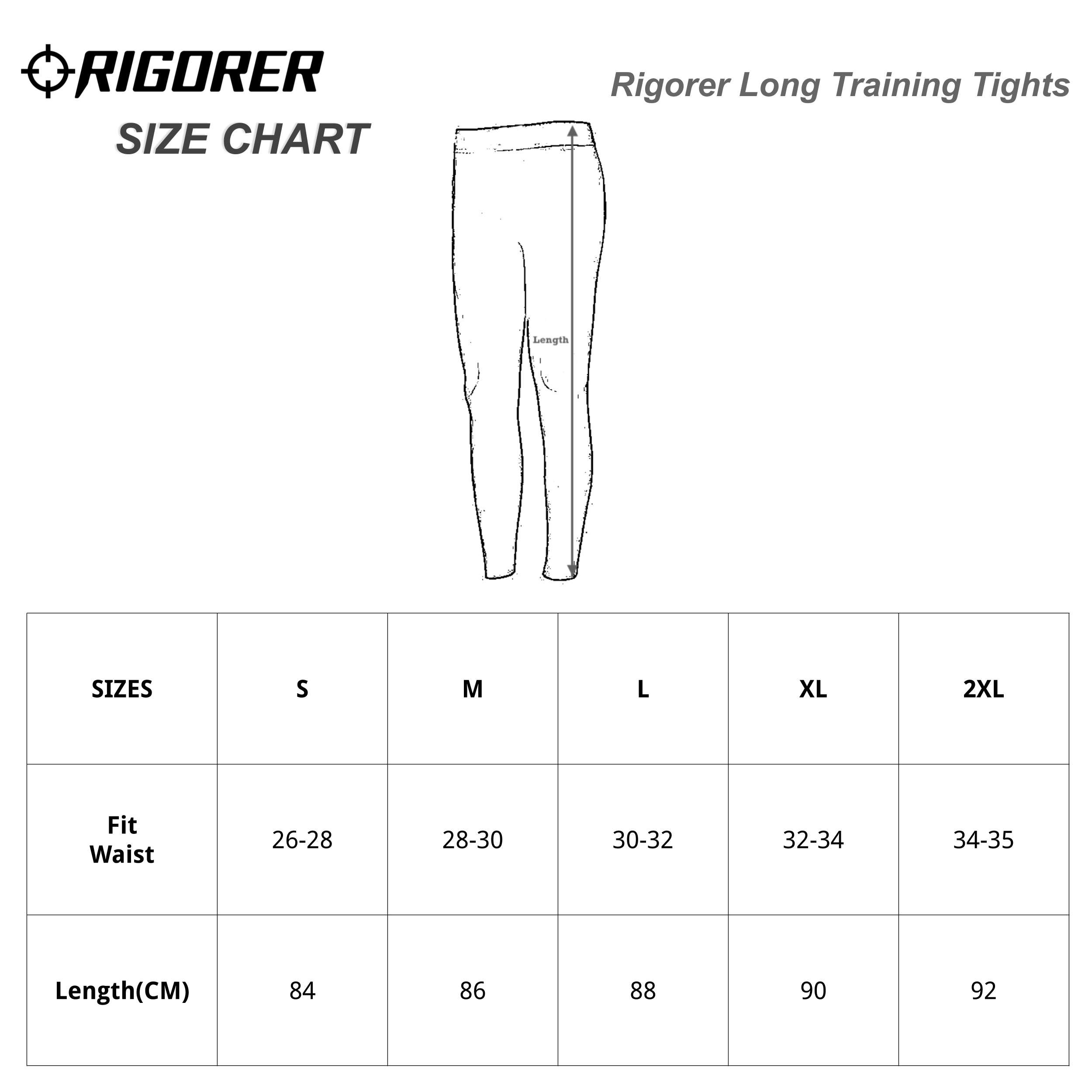 Rigorer Long Training Tights Sizing Chart