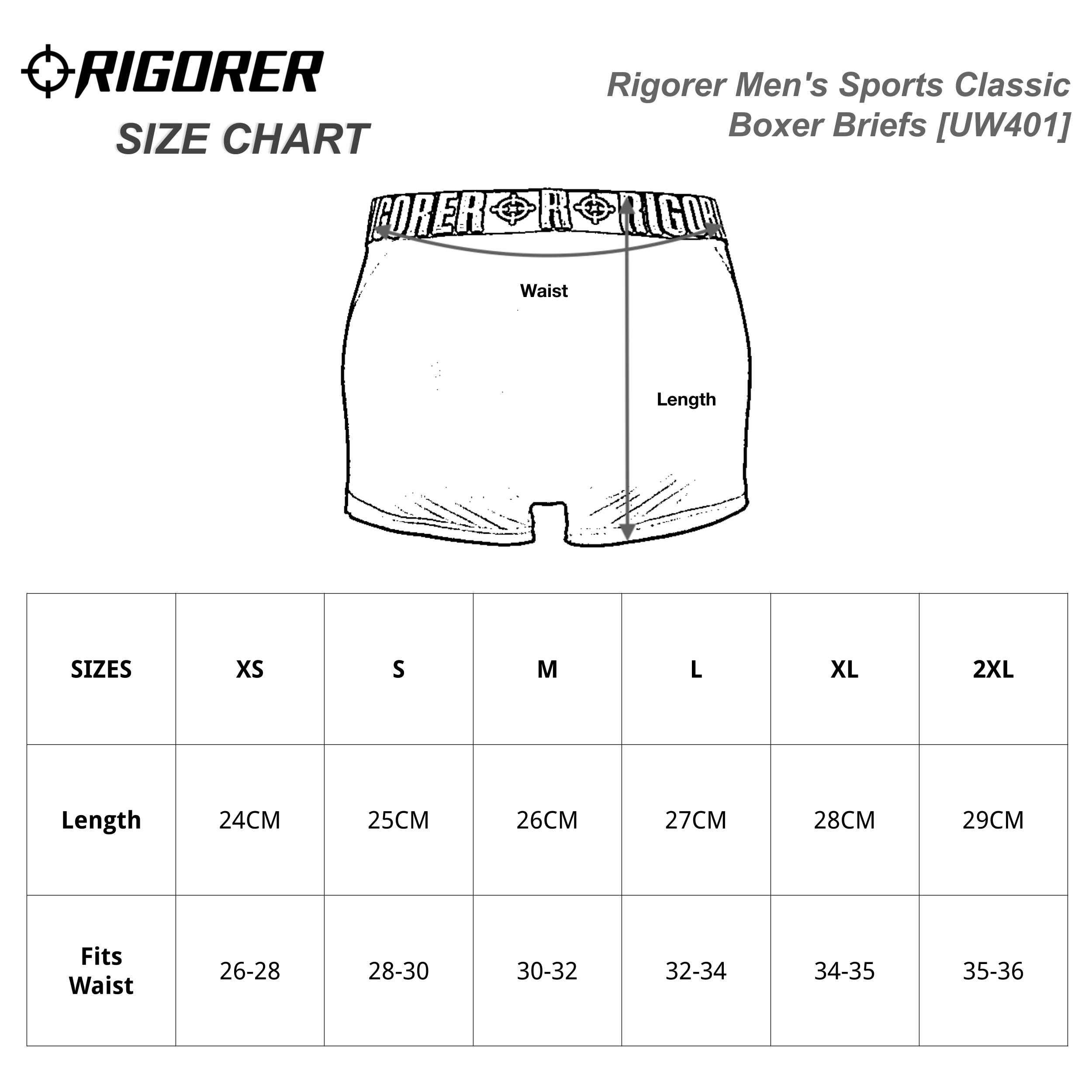 Rigorer Men's Sports Classic Boxer Briefs [UW401] Sizing Chart