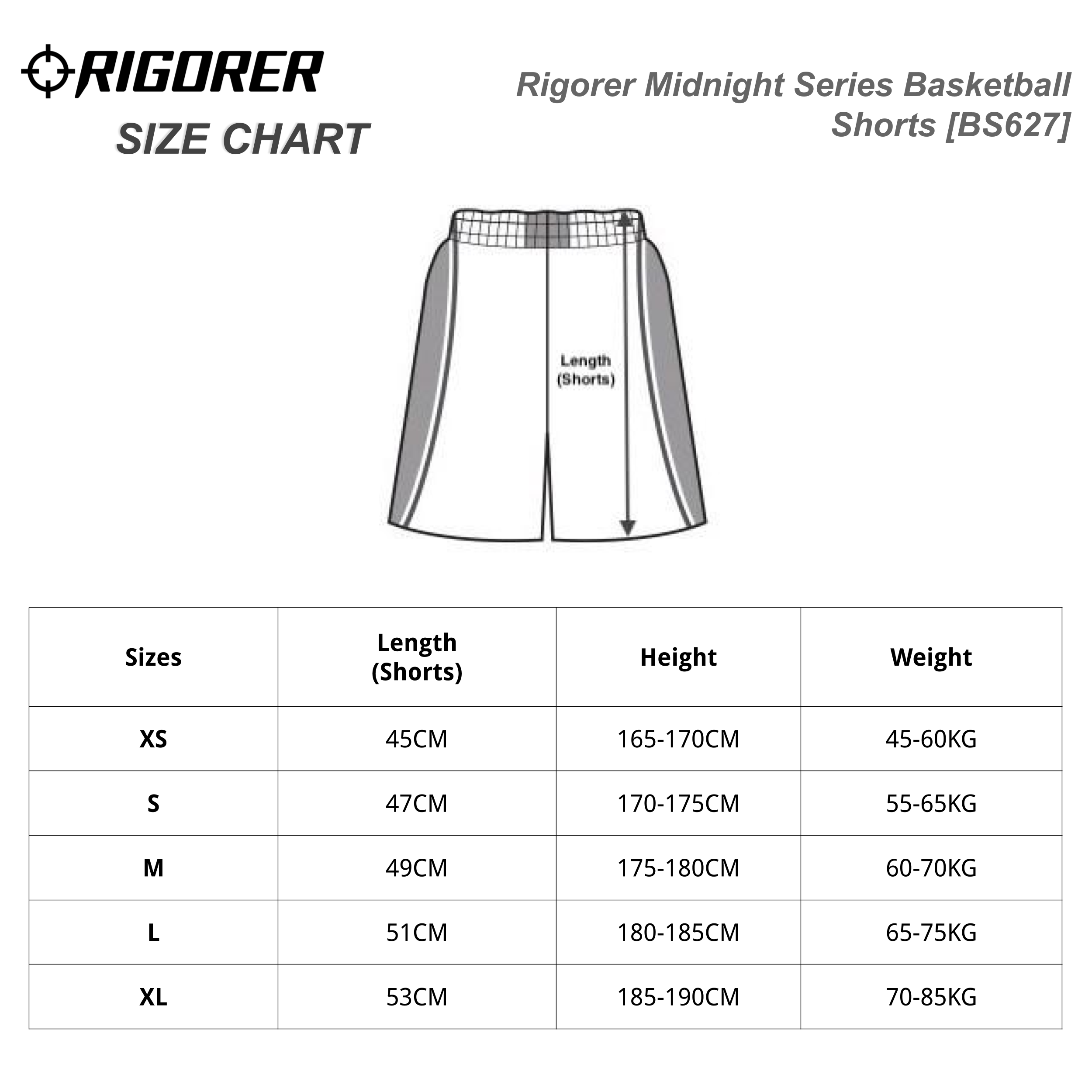 Rigorer Midnight Series Basketball Shorts [BS627] Sizing Chart