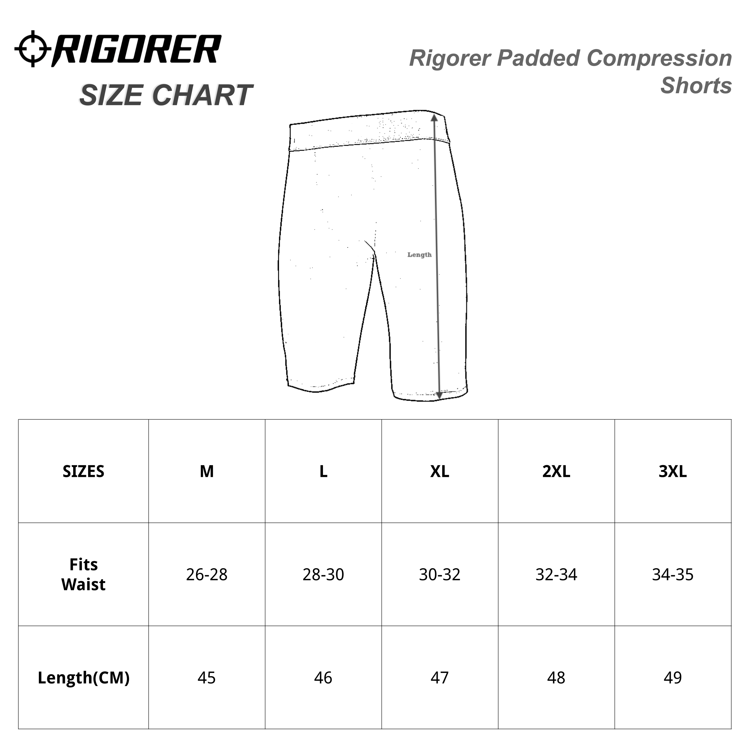 Rigorer Padded Compression Shorts Sizing Chart