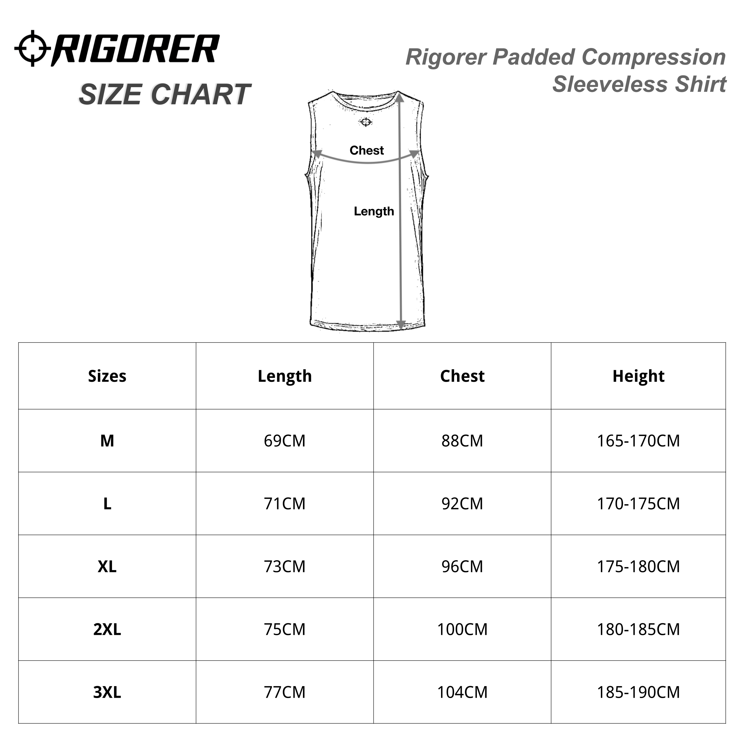 Rigorer Padded Compression Sleeveless Shirt Sizing Chart