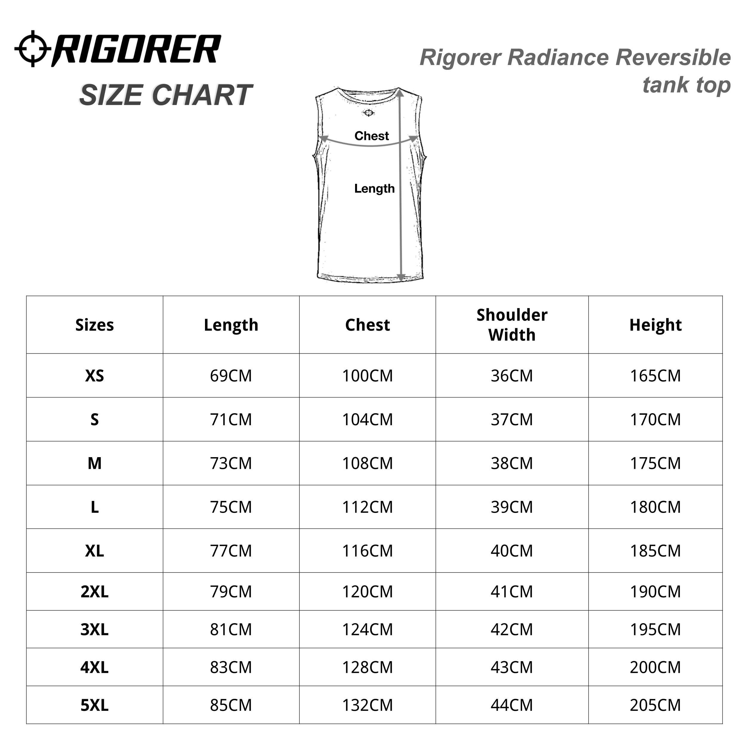 Rigorer Radiance Reversible tank top Sizing Chart