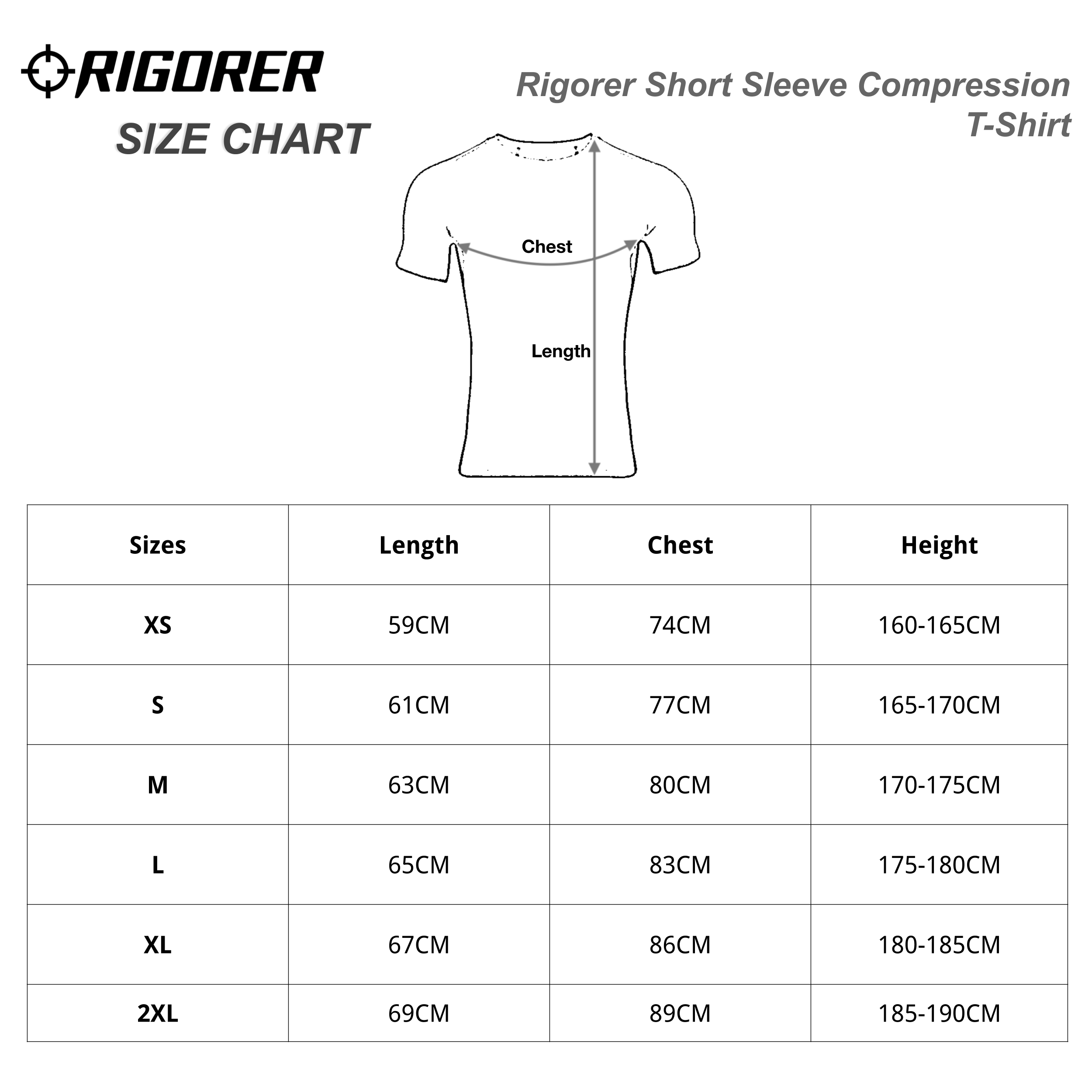 Rigorer Short Sleeve Compression T-Shirt Sizing Chart