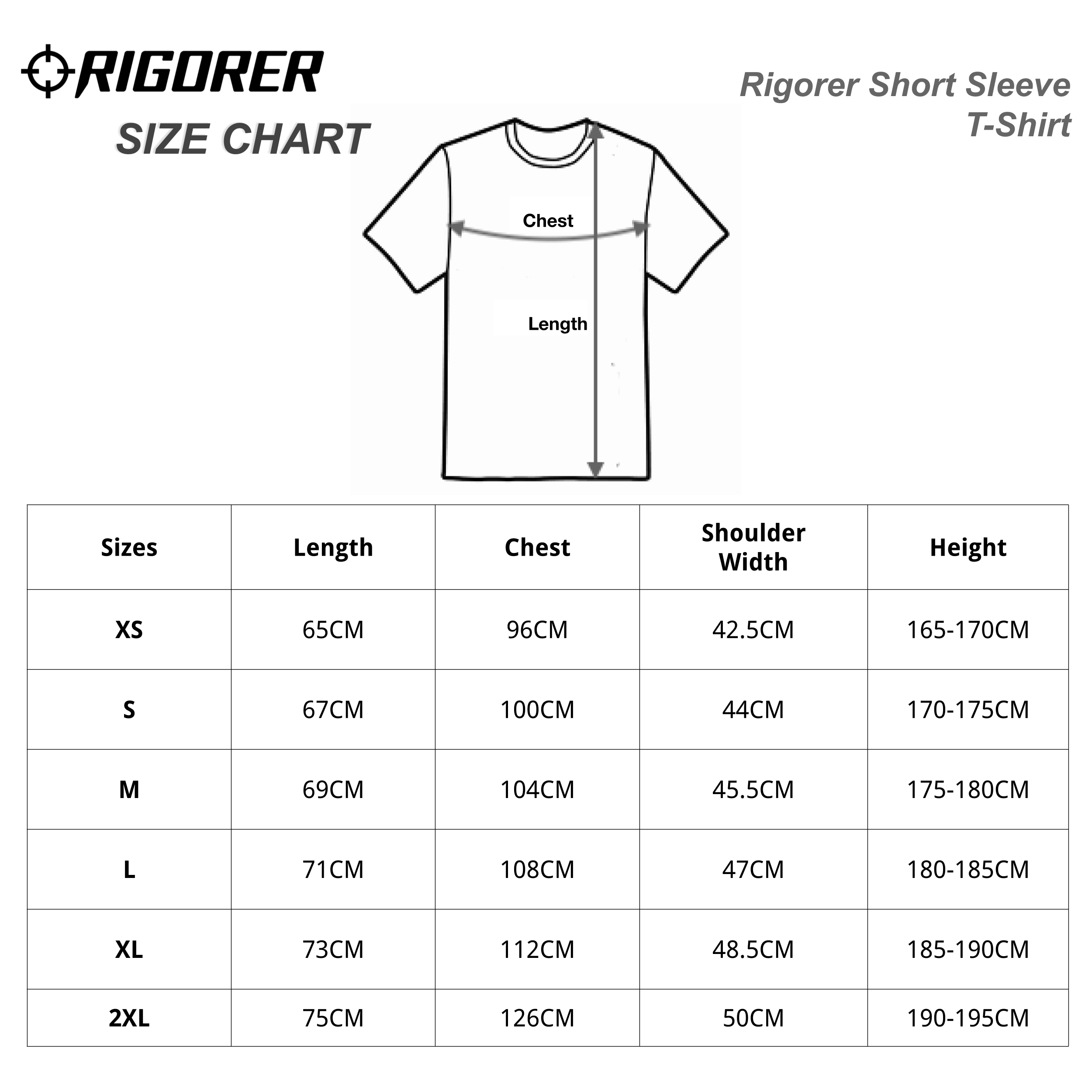 Rigorer Short Sleeve T-Shirt Sizing Chart
