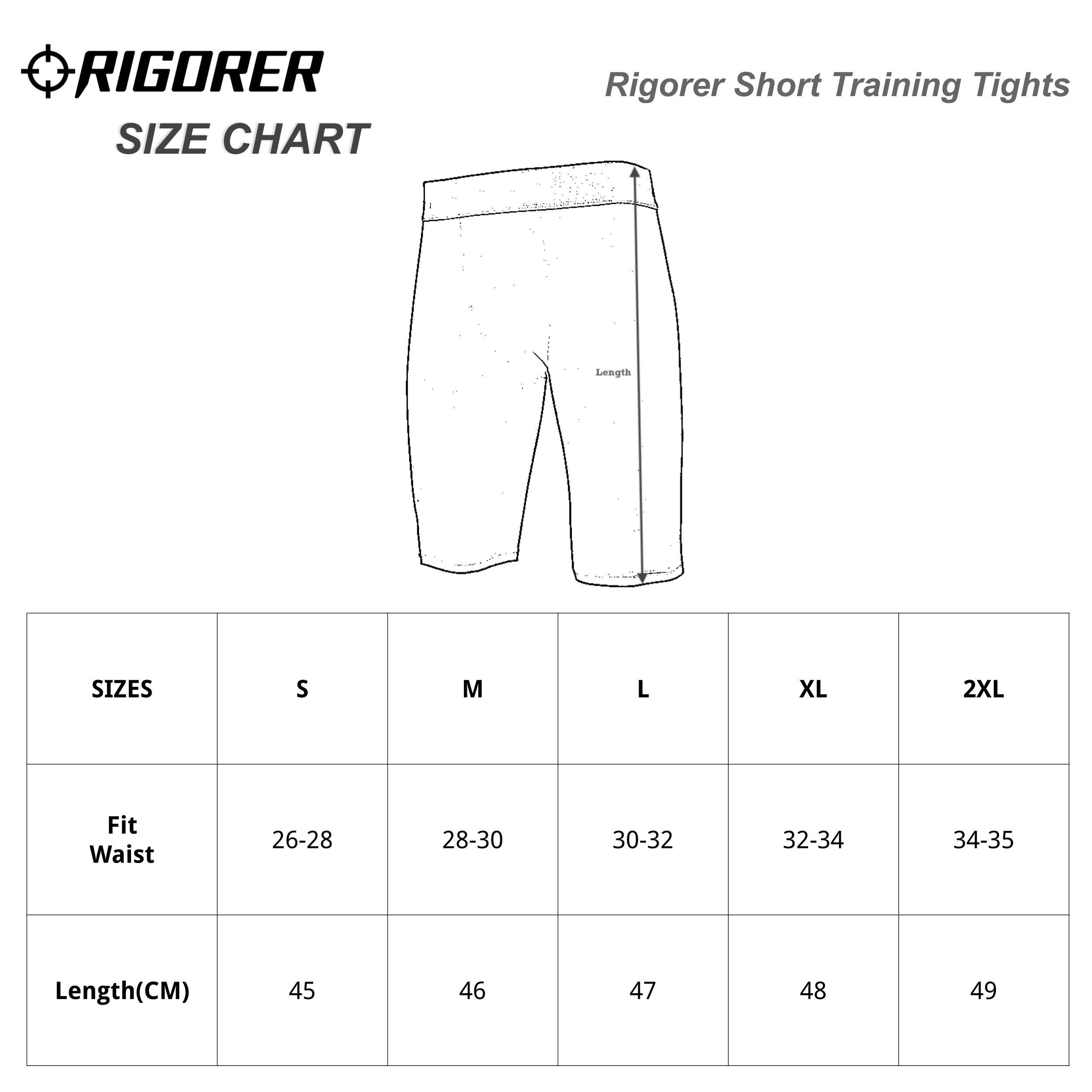 Rigorer Short Training Tights Sizing Chart