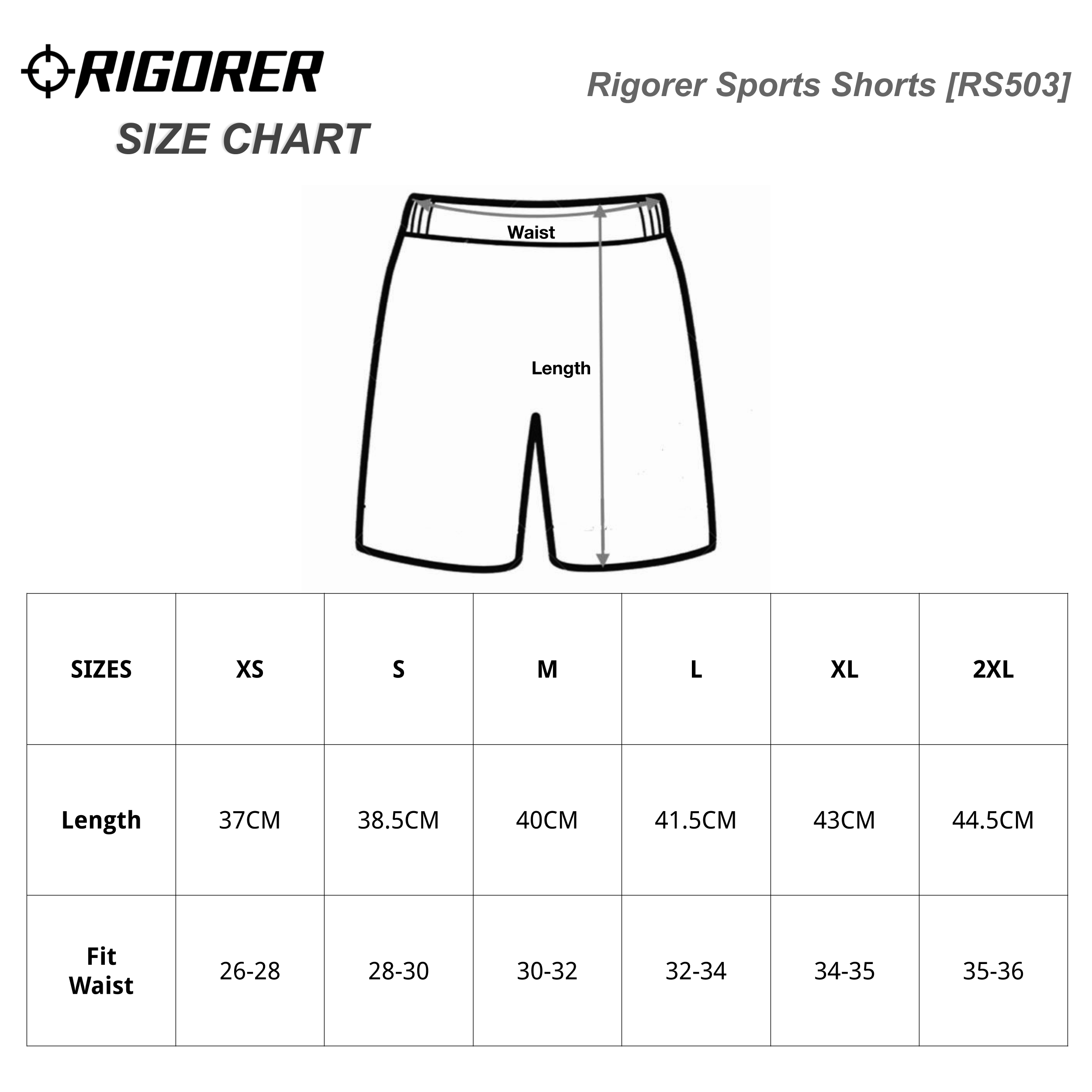 Rigorer Sports Shorts [RS503] Sizing Chart