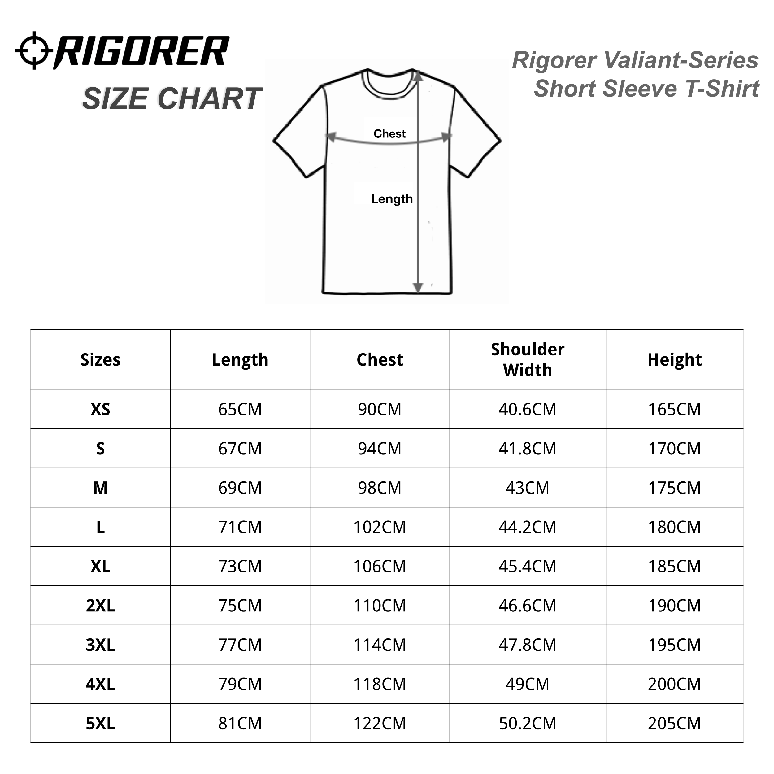 Rigorer Valiant-Series Short Sleeve T-Shirt Sizing Chart
