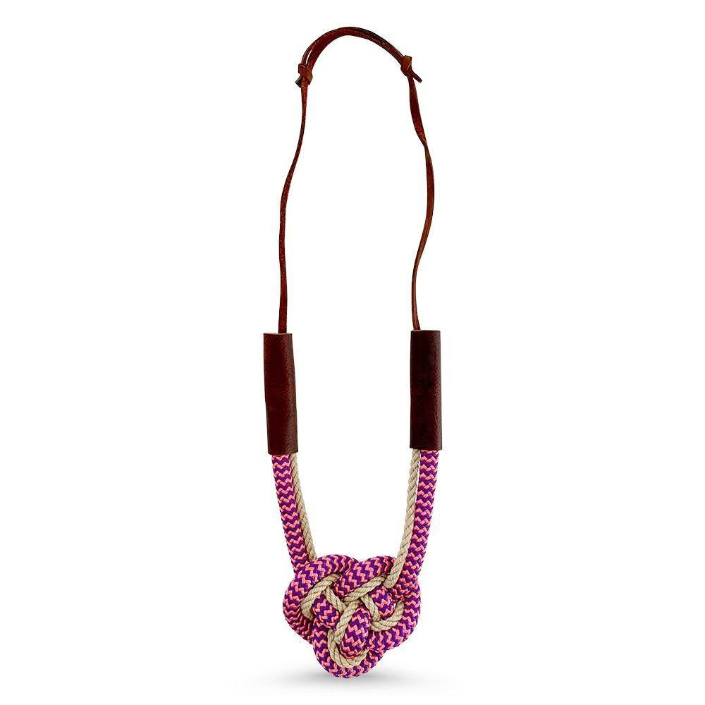 Nautical Heart Knot Statement Necklace in Beach Rose