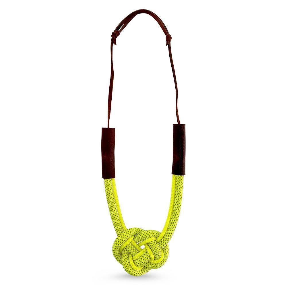 Nautical Heart Knot Statement Necklace in Sunshine Yellow
