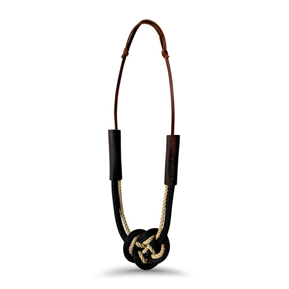 Nautical Heart Knot Statement Necklace in Summer Night Black