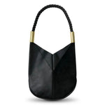 Wildwood Oyster Co. Black Leather Handbag with Summer Night Black Dock Line and Classic Brass