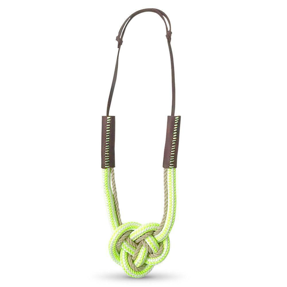 Nautical Heart Knot Statement Necklace in Lime Slice