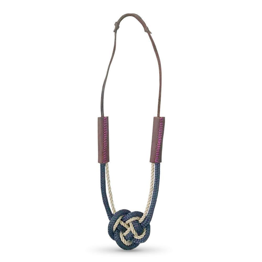 Nautical Heart Knot Statement Necklace in Classic Navy