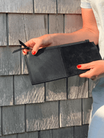 Black Leather Clutch with Chunky Brass Zipper
