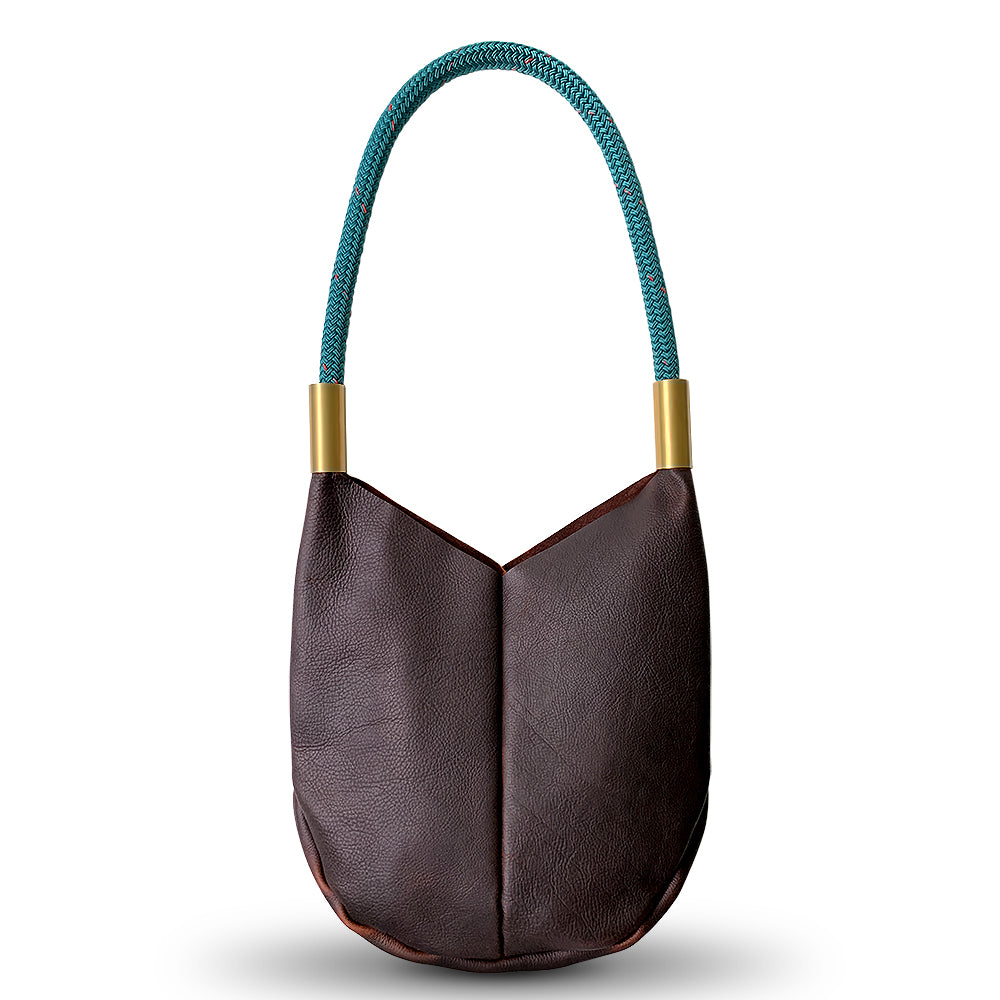 Wildwood Oyster Co. Brown Leather Crossbody Tote Bag with Signature Teal Dock Line and Classic Brass