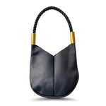 Wildwood Oyster Co. Black Leather Handbag with Black Dock Line and Classic Brass