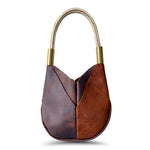 Wildwood Oyster Co. Brown Leather Handbag with Suntan Gold Dock Line and Classic Brass