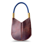 Wildwood Oyster Co. Brown Leather Handbag with Navy Dock Line and Classic Brass