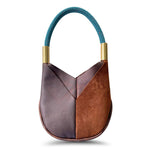 Wildwood Oyster Co. Brown Leather Handbag with Signature Teal Dock Line and Classic Brass