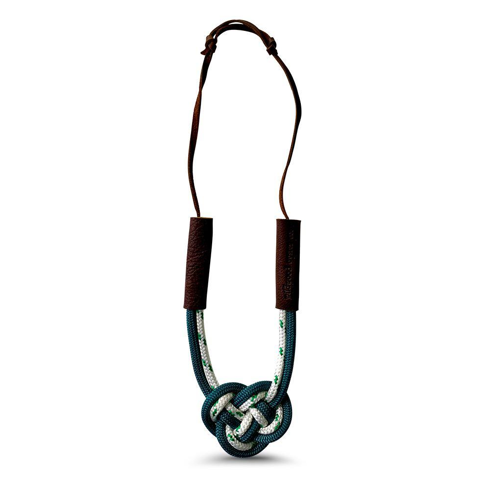 Nautical Heart Knot Statement Necklace in Weathered Pine Green