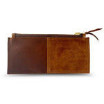 Brown Leather Clutch with Chunky Brass Zipper