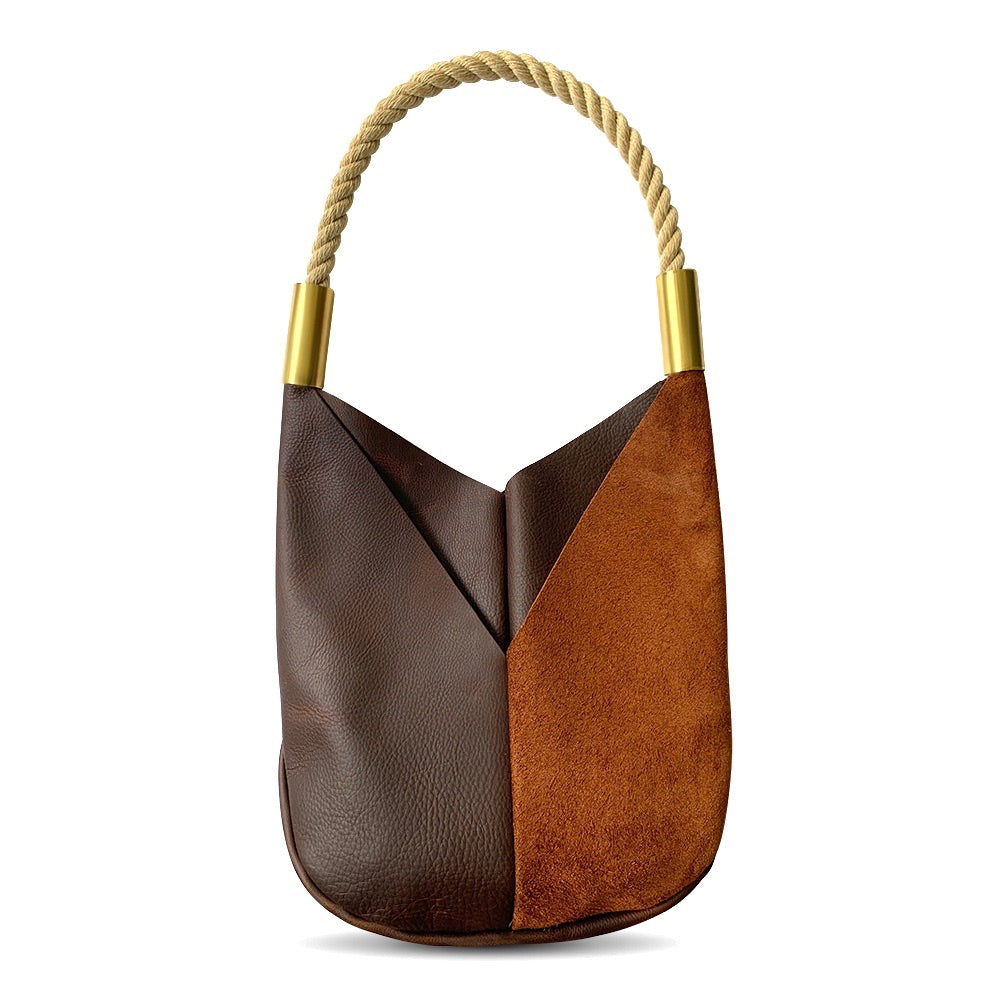 Wildwood Oyster Co. Brown Leather Tote Bag with Natural Dock Line and Classic Brass