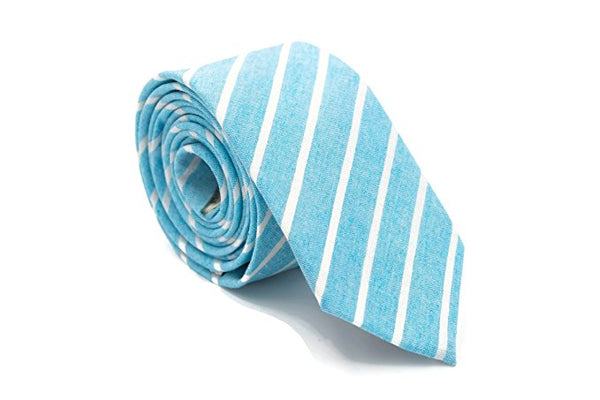 Color Stripe Cotton Necktie (Turquoise Blue)