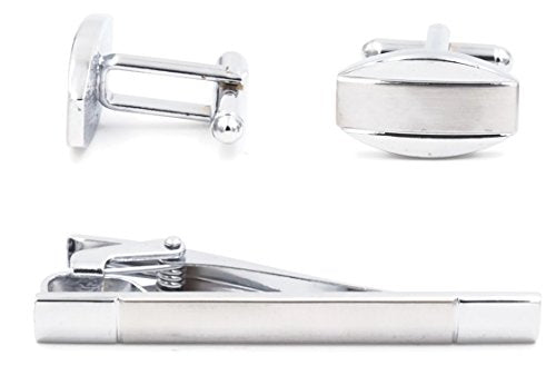 Mandujour William Chrome & Silver Oval Cuff-links and Tie Clip Set