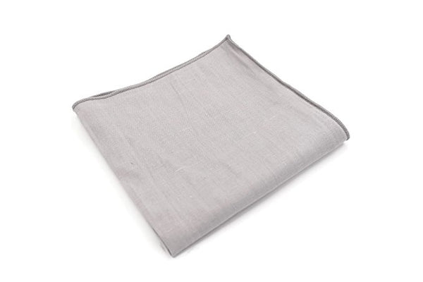 Mandujour 100% cotton Pocket Square Handmade Handkerchief (Gray)