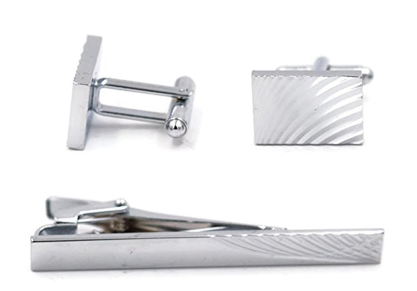 Mandujour Noah Chrome Rectangular Cuff-links and Tie Clip Set