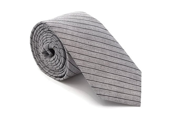 Color Stripe Cotton Necktie (Gray and black)