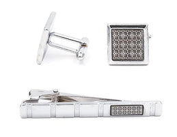Mandujour Christopher Chrome and Gray Square Cuff-links and Tie Clip Set