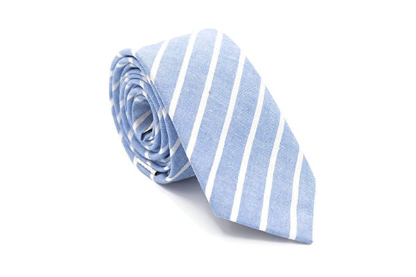Color Stripe Cotton Necktie (Sky Blue)