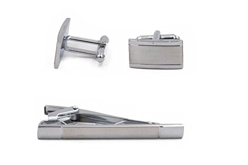 Mandujour Jacob Chrome & Silver rectangle Cuff-links and Tie Clip Set