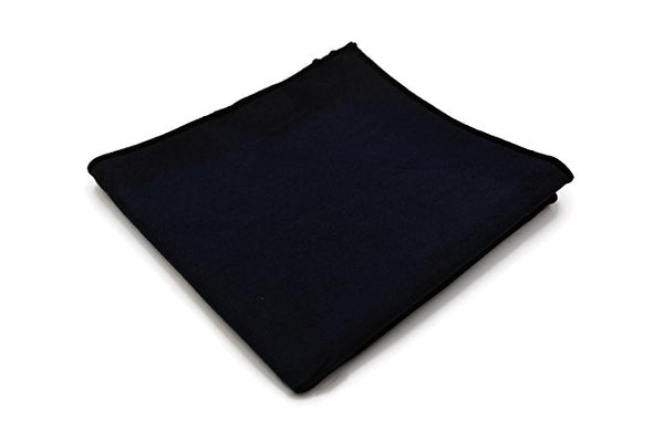 Mandujour 100% cotton Pocket Square Handmade Handkerchief (Black)