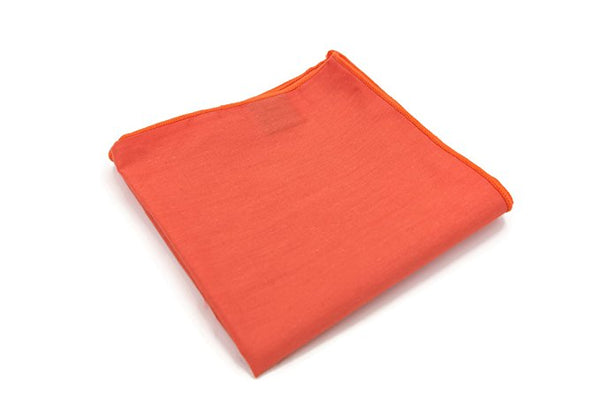 Mandujour 100% cotton Pocket Square Handmade Handkerchief (Orange)