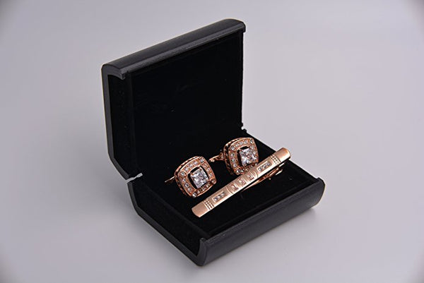 Mandujour Floyd Rose Gold Studded Cuff-links and Tie Clip Set