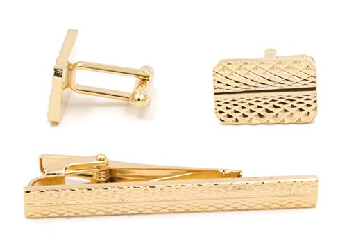 Mandujour Warren Gold Cuff-links and Tie Clip Set